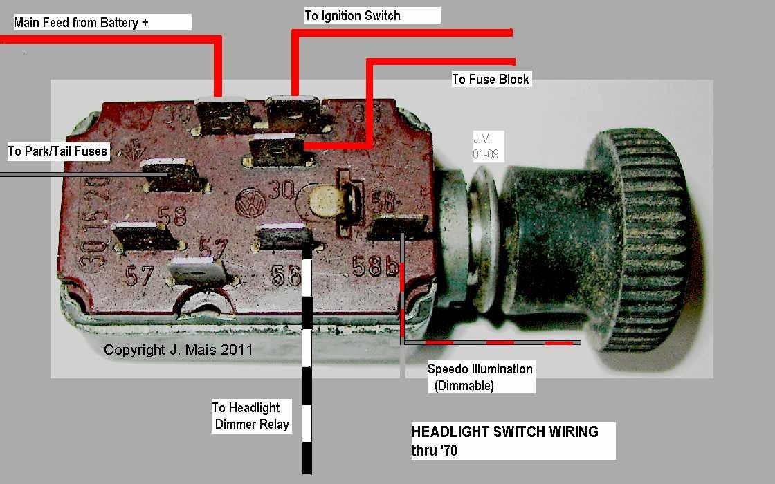 head_sw speedy jim's home page, aircooled electrical hints 1970 vw bug headlight switch wiring diagram at metegol.co