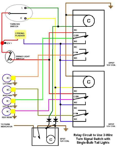 scheme for using 3 wire turn signal switch single bulb tail there are many ways to design such a circuit i have included a neat version built by gerry of trick engineering fabrication here